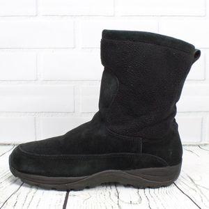 LL Bean Black Suede  Fleece Upper Winter Boots 9.5